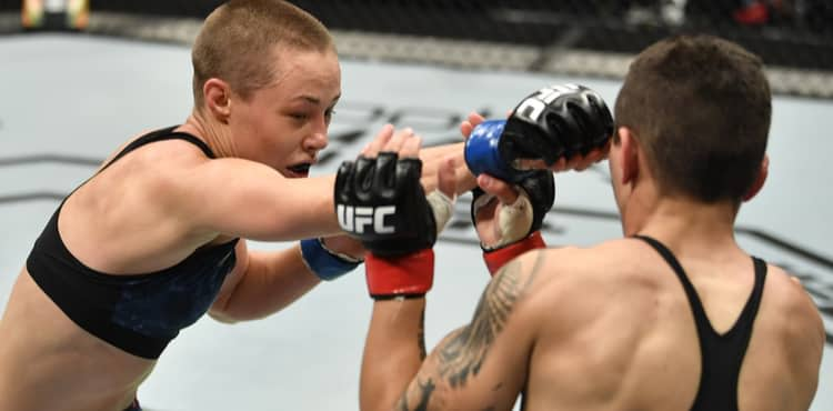 Rose Namajunas punches Jessica Andrade at UFC 251 on Fight Island