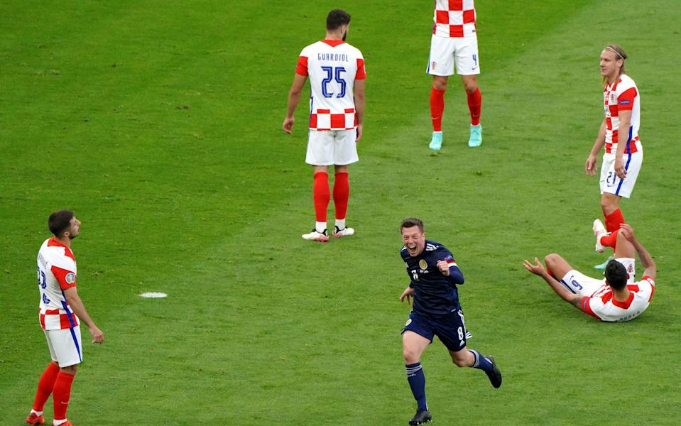 Scotland's Callum McGregor celebrates scoring their side's first goal of the game during the UEFA Euro 2020 Group D match at Hampden Park, Glasgow - PA