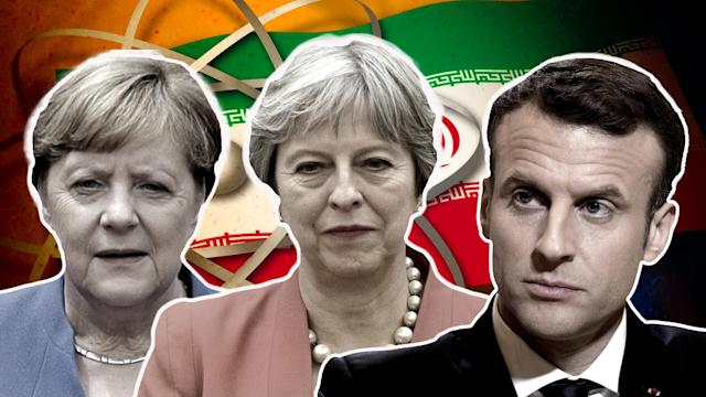 German Chancellor Angela Merkel, British Prime Minister Theresa May, French President Emmanuel Macron (Photo illustration: Yahoo News; photos: AP)