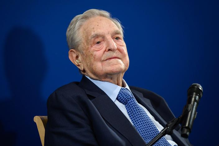 George Soros looks on after having delivered a speech on the sidelines of the World Economic Forum (WEF) annual meeting, on January 23, 2020 in Davos, eastern Switzerland. (Fabrice Coffrini/AFP via Getty Images)