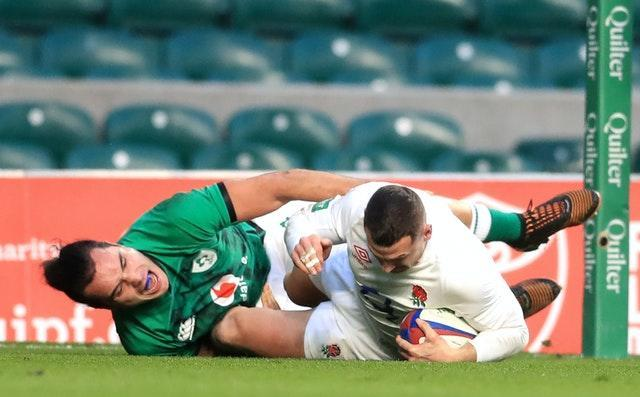 Jonny May, right, crashes over for England's first try