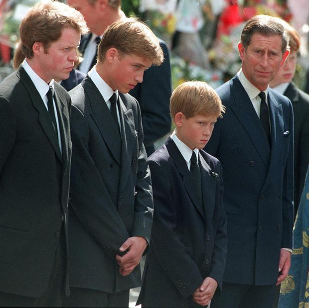 Earl Spencer, Princes William and Harry and Prince Charles at Diana's funeral