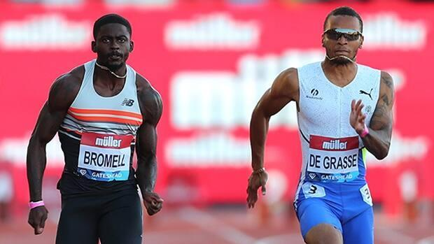 Trayvon Bromell of the United States won his sixth 100-metre race in seven attempts in 2021, defeating Canada's Andre De Grasse for the second time this season at Tuesday's Müller British Grand Prix at Gateshead International Stadium in England. (Ashley Allen/Getty Images - image credit)