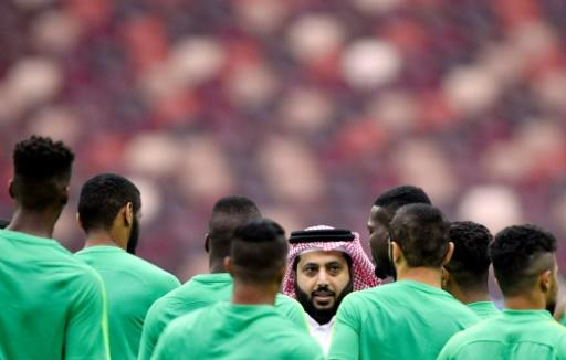 Saudi Arabia players listen to the head of the General Authority for Saudi Sport, Turki Al-Sheikh (C), as they gather during a training session at the Luzhniki stadium in Moscow on June 13, 2018 ahead of the Russia 2018 World Cup football tournament