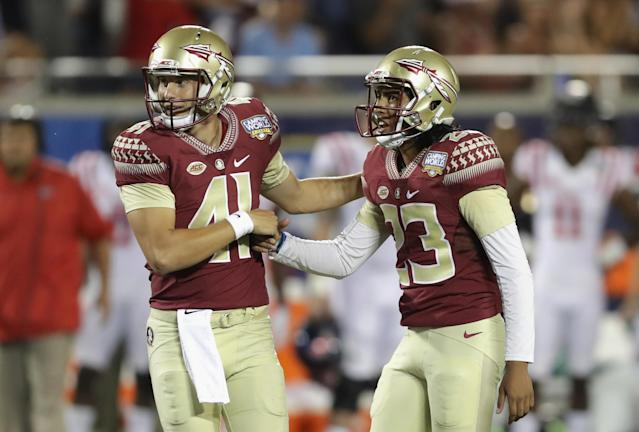 "<a class=""link rapid-noclick-resp"" href=""/ncaaf/players/263345/"" data-ylk=""slk:Ricky Aguayo"">Ricky Aguayo</a> (R) reacts after making a field goal against the Mississippi Rebels during the Camping World Kickoff in 2016. (Getty Images)"