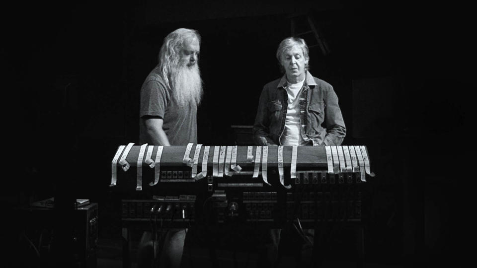 In 'McCartney 3, 2, 1', Paul McCartney sits down for a rare, in-depth chat with legendary producer Rick Rubin. (Hulu/Disney)