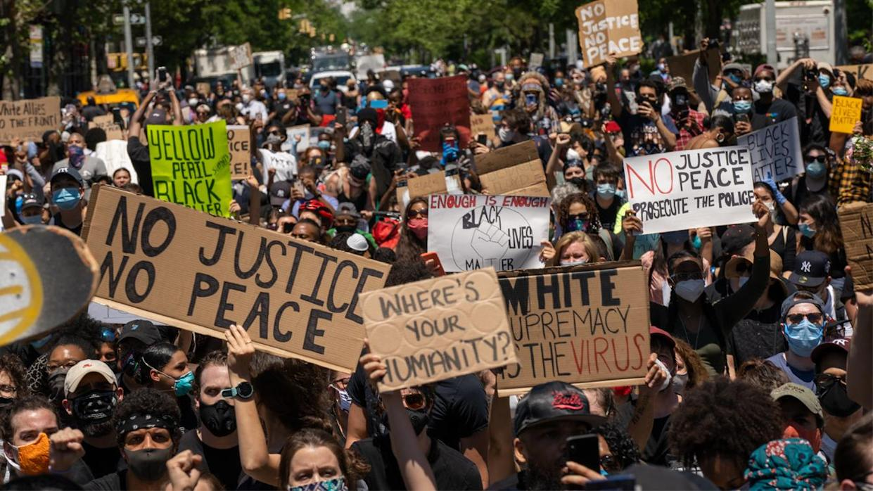 Protesters gathered in Harlem in New York City in May last year to protest the recent death of George Floyd.