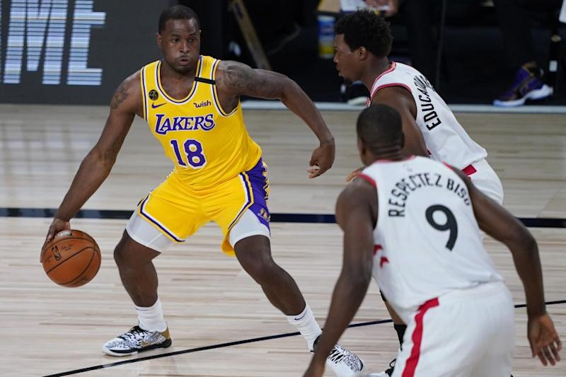 Los Angeles Lakers' Dion Waiters (18) plays against the Toronto Raptors during the first half of an NBA basketball game Saturday, Aug. 1, 2020, in Lake Buena Vista, Fla. (AP Photo/Ashley Landis, Pool)