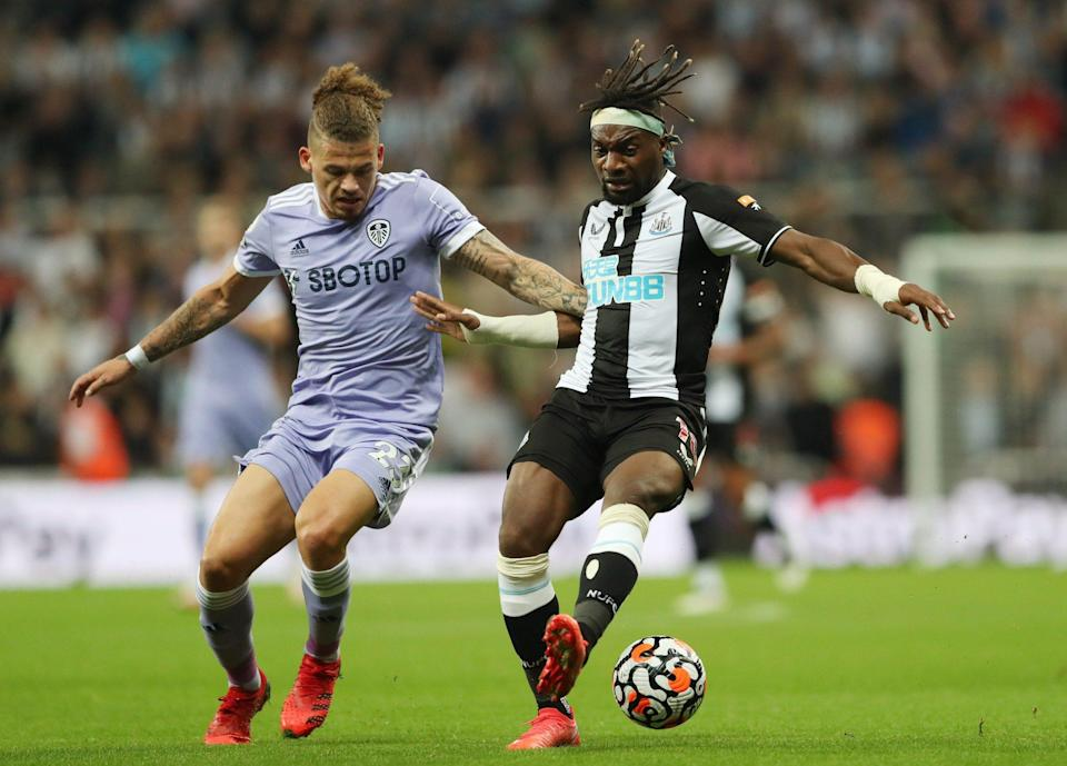 Leeds United's Kalvin Phillips in action with Newcastle United's Allan Saint-Maximin - REUTERS/Scott Heppell