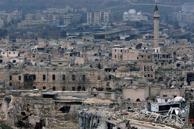 <p>A view shows the damage in the Old City of Aleppo as seen from the city's ancient citadel, Syria, Jan. 31, 2017. (Photo: Omar Sanadiki/Reuters) </p>