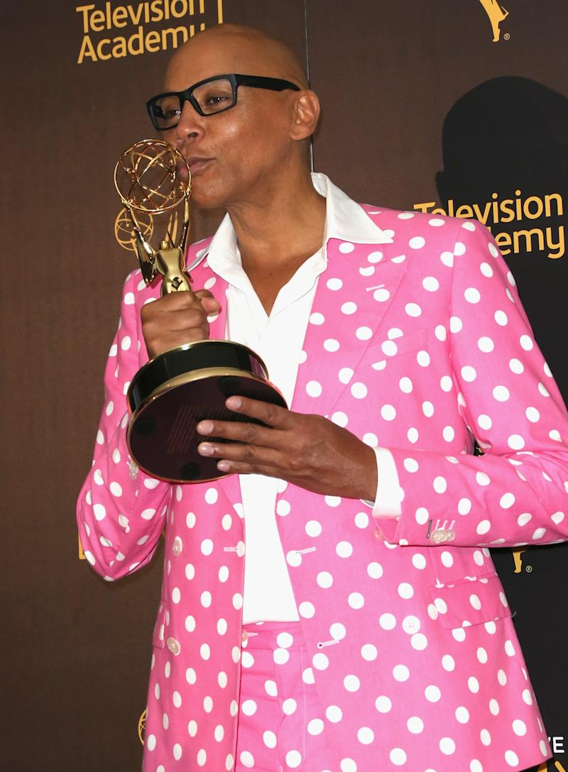 LOS ANGELES, CA - SEPTEMBER 11: TV personality RuPaul Charles, winner of Outstanding Host For A Reality Or Reality-Competition Program, poses in the press room during the 2016 Creative Arts Emmy Awards at Microsoft Theater on September 11, 2016 in Los Angeles, California. (Photo by Frederick M. Brown/Getty Images)