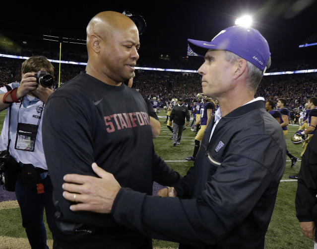 With a win in the Alamo Bowl, Stanford coach David Shaw, left, can reach double digit wins for the sixth time in his seven seasons as head coach. (AP Photo/Ted S. Warren, File)