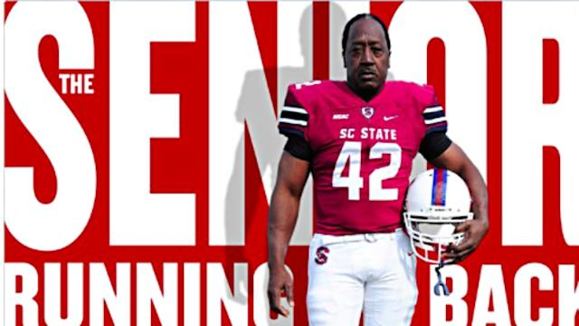 Joe Thomas Sr. became the oldest NCAA Division I football player in history when he lined up at running back for South Carolina State.