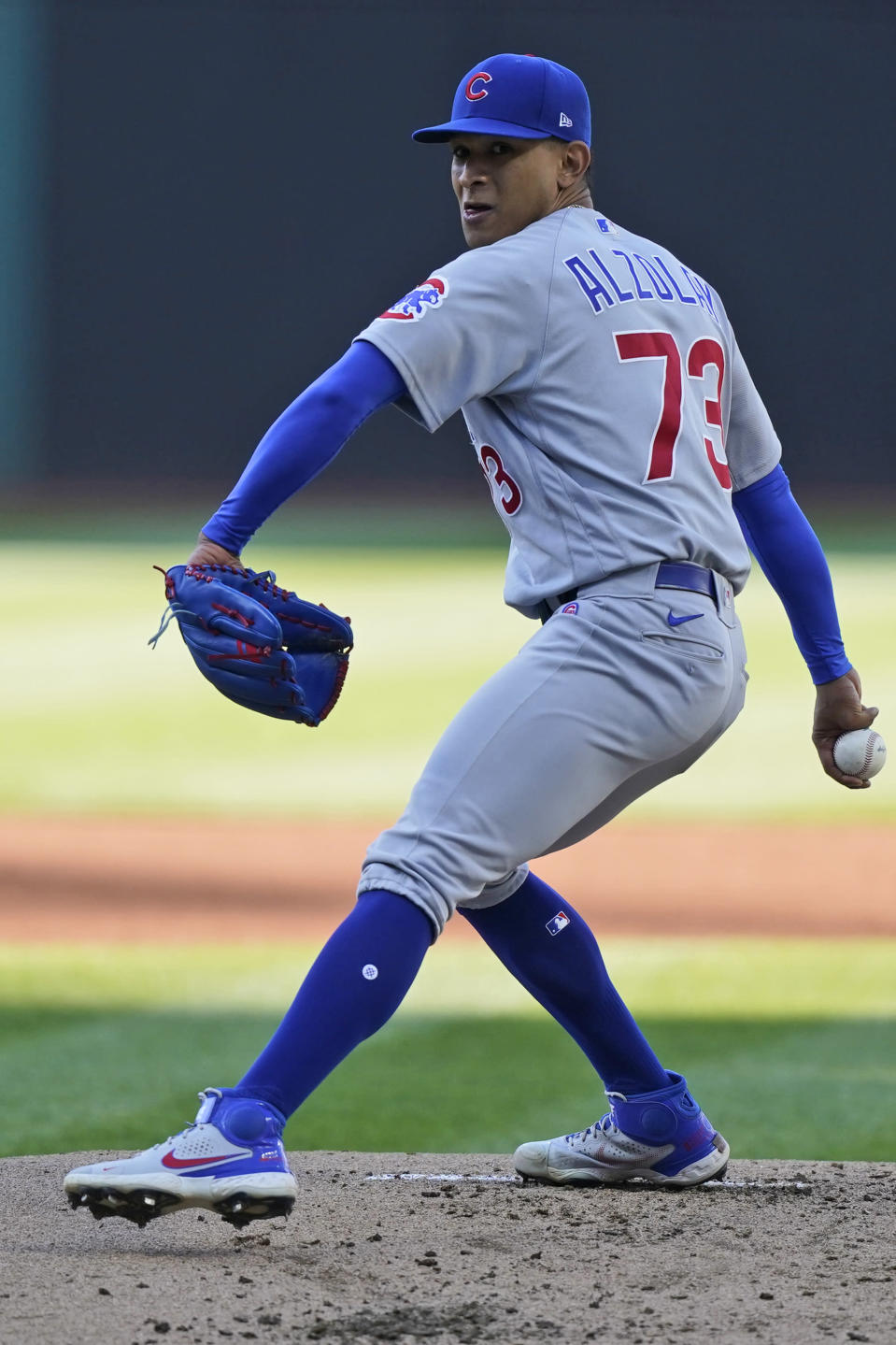Chicago Cubs starting pitcher Adbert Alzolay delivers in the first inning of a baseball game against the Cleveland Indians, Tuesday, May 11, 2021, in Cleveland. (AP Photo/Tony Dejak)
