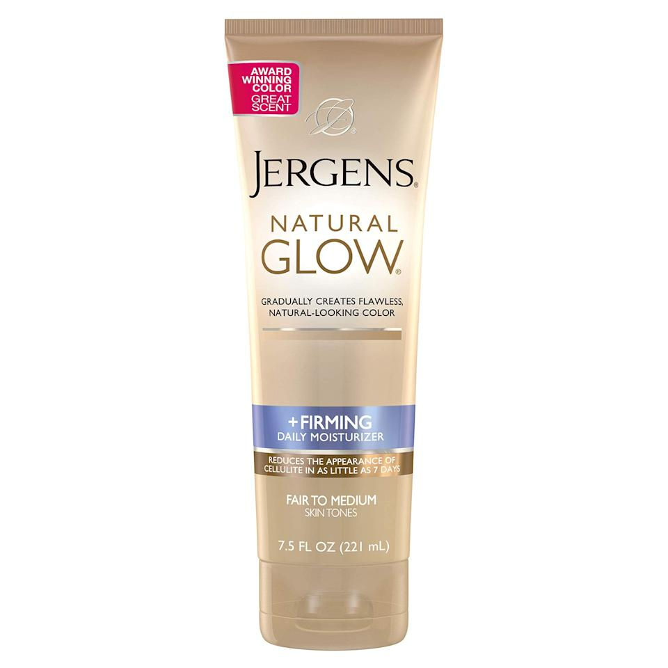 """<h3>Jergens Natural Glow +Firming Daily Moisturizer for Body<br></h3><br><strong>The Intro to Self Tanner</strong><br><br>We love how Jergens' Natural Glow body lotion instantly hydrates and firms skin while allowing you to gradually build up your tan to your desired level — and at a drugstore price point. <br><br><strong>The Hype:</strong> 4.5 out of 5 stars and 2,144 reviews on <a href=""""https://amzn.to/39XbRaR"""" rel=""""nofollow noopener"""" target=""""_blank"""" data-ylk=""""slk:Amazon"""" class=""""link rapid-noclick-resp"""">Amazon</a><br><br><strong>Reviewers Say: </strong>""""This is the only self tanner I will use. I'm generally in a hurry, and I've never had a problem with streakiness with this Jergens tanner. It imparts color gradually, so it's easy enough to stop when you're satisfied. Once I've reached that point, instead of applying daily, I'll use it a couple of times a week. I really like that it doesn't have a strong chemical smell to it. Another plus is that I've never had a problem with it discoloring my clothing or, if used at night, my sheets. Overall, I think this is a great self tanner."""" — D. Marsh, Amazon Reviewer<br><br><strong>Jergens</strong> Natural Glow + Firming Body Lotion, $, available at <a href=""""https://amzn.to/39XbRaR"""" rel=""""nofollow noopener"""" target=""""_blank"""" data-ylk=""""slk:Amazon"""" class=""""link rapid-noclick-resp"""">Amazon</a>"""