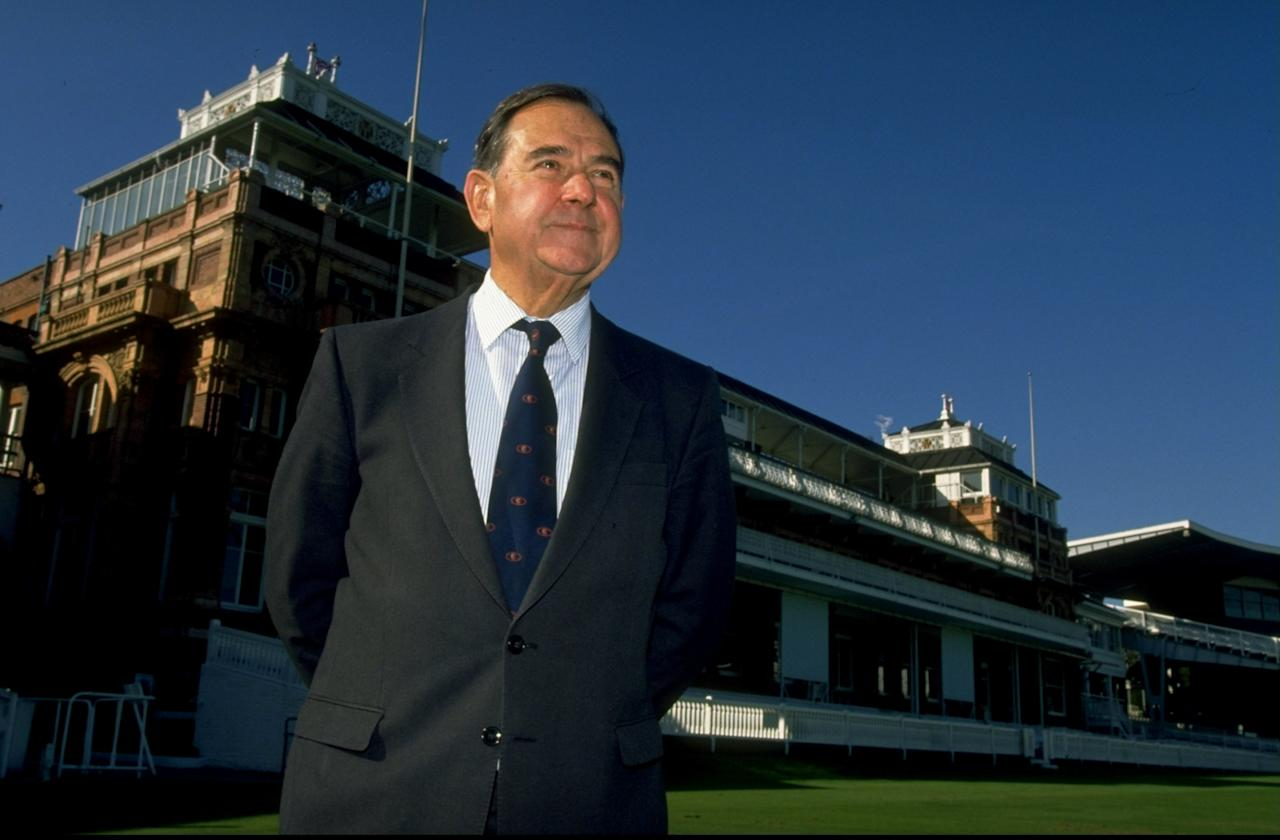 1995:  Sir Colin Cowdrey poses for photographers during the ICC press conference at Lord's in London. \ Mandatory Credit: Mike  Hewitt/Allsport
