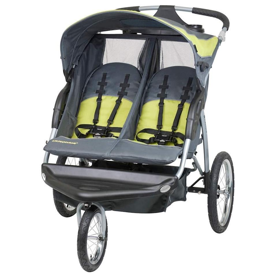 """If you have two kids, this gem will make strolls around the neighborhood a breeze. With multiposition reclining seats, canopy shields <i>and</i> built-in speakers, your little tykes will enjoy the ride.<br /><br /><strong>Promising review:</strong>""""LOVE this jogger. No wiggly tire, no shaking. My husband put it together for me, he aired up the tires because they ship flat, and tightened everything up nicely. I lock the wheel (as you should according to the manual) when I run and even walk. The sun shade is large enough to cover the kids, the buckles are very basic. The foot plate is wide enough for my kids to both put their feet on it if they wanted (kids are one and almost three).<strong>I just want to emphasize how STABLE this thing is. It doesn't even wiggle when I'm running, I did sprints with this for a HIIT workout and at my fastest there wasn't even a wiggle.</strong>The fabric looks like it would easy to wipe down if I ever am brave enough to give the kids something to drink or eat while in there. The bottom compartment would be big enough for pretty much anything, and the speakers are LOUD. It actually seems louder and clearer when the lid that encloses the speakers is propped up instead of closed."""" —<a href=""""https://amzn.to/3uLOlYP"""" target=""""_blank"""" rel=""""nofollow noopener noreferrer"""" data-skimlinks-tracking=""""5189597"""" data-vars-affiliate=""""Amazon"""" data-vars-href=""""https://www.amazon.com/gp/customer-reviews/RB7P41MYJA835?tag=bfheather-20&ascsubtag=5189597%2C5%2C44%2Cmobile_web%2C0%2C0%2C160789"""" data-vars-keywords=""""cleaning,fast fashion"""" data-vars-link-id=""""160789"""" data-vars-price="""""""" data-vars-product-id=""""15996822"""" data-vars-retailers=""""Amazon"""">Alex<br /><br /></a><a href=""""https://amzn.to/3y1JS6x"""" target=""""_blank"""" rel=""""noopener noreferrer""""><strong>Get it from Amazon for$199.99+(available in two styles).</strong></a>"""