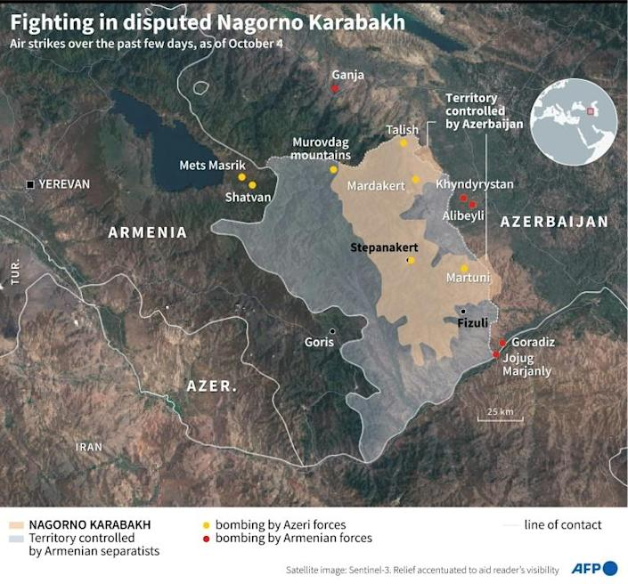 A map of Nagorno Karabakh, Armenia and Azerbaijan, locating bombings by both sides in recent days