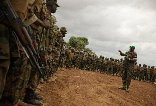 Ugandan soldiers serving with the AU operation based in Afgoye near Mogadishu
