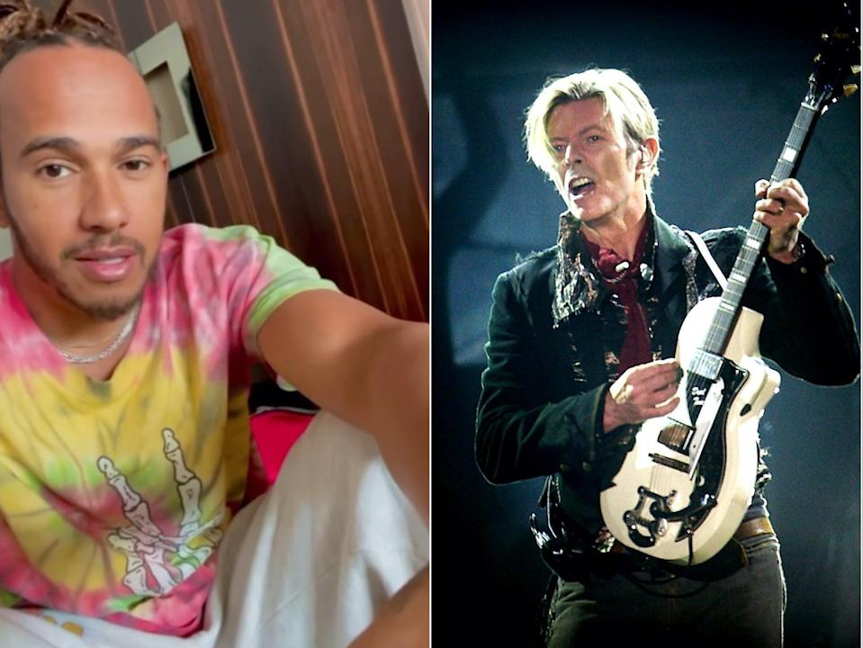Lewis Hamilton reveals that David Bowie sent him two guitars as a gift, with no note (Instagram/Getty)