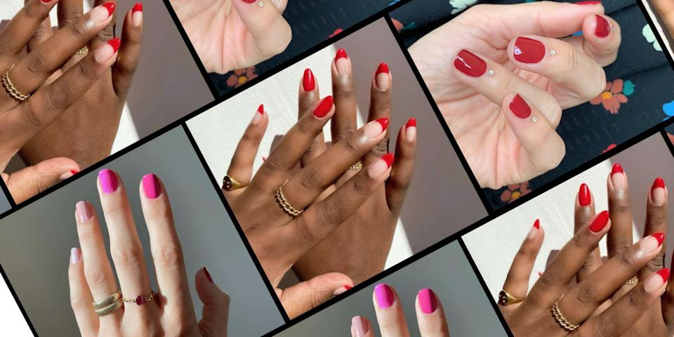<p>Valentine's Day is the perfect excuse to adorn your fingertips with hearts, glitter, and multiple shades of pink. But if you're looking for a love-inspired nail art idea that's a little less obvious, we found that too. From ultra-girly to plenty of edge, you'll love these V-Day 2021 manicure ideas long after that last chocolate has disappeared from the heart-shaped box. </p>
