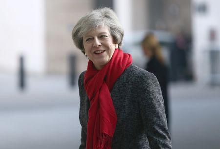 May arrives at the BBC's Broadcasting House in London