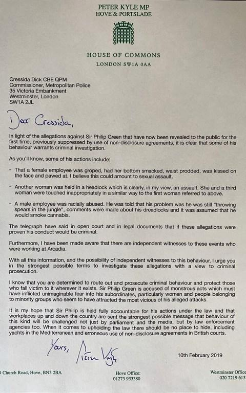 Letter from Peter Kyle MP to Metropolitan Police Commissioner Cressida Dick requesting a criminal investigation into the accusations against Sir Philip Green