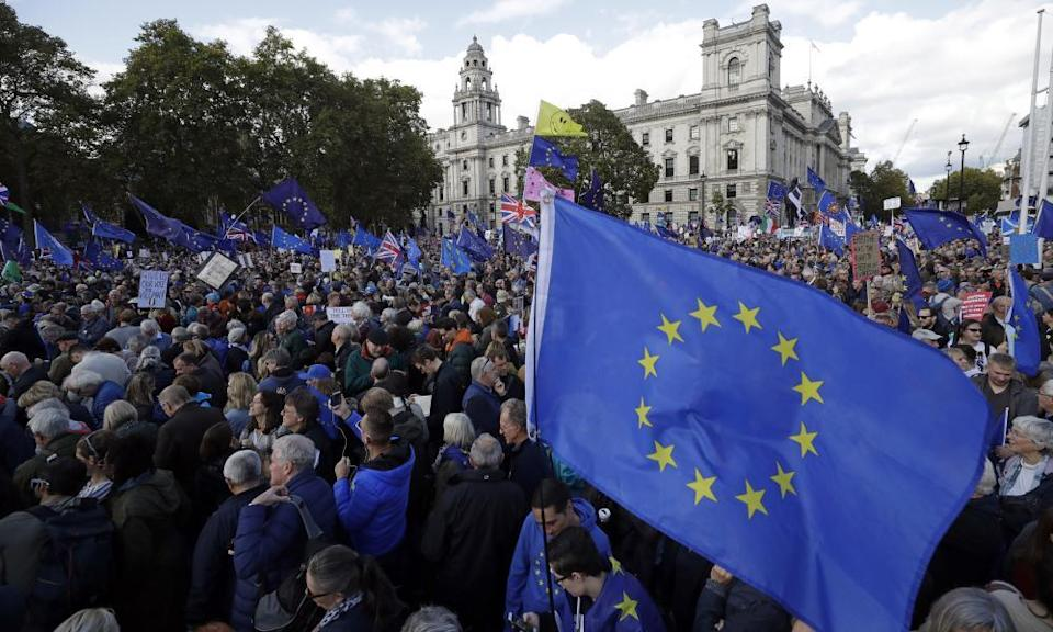 An anti-Brexit protest march in London in 2019 calls for another referendum on Britain's EU membership