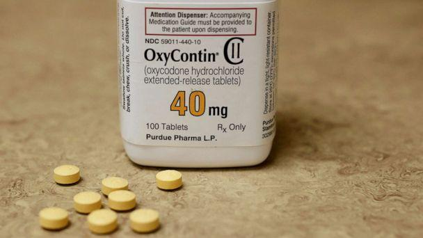 PHOTO: A bottle of prescription painkiller OxyContin, 40mg pills, made by Purdue Pharma L.D. sit on a counter at a local pharmacy, in Provo, Utah, April 25, 2017. (George Frey/Reuters, FILE)