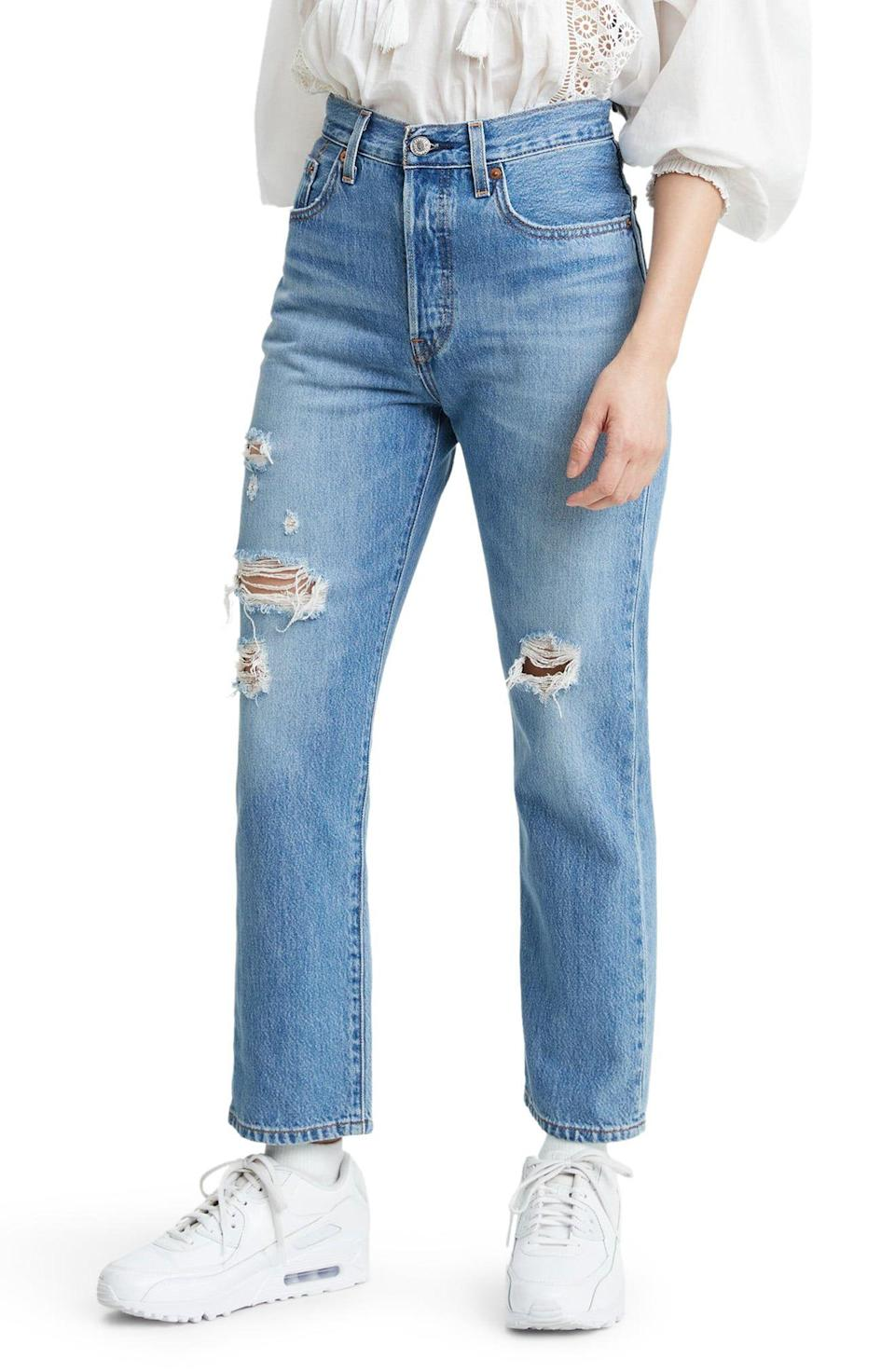 """<p><strong>Levi's</strong></p><p>nordstrom.com</p><p><a href=""""https://go.redirectingat.com?id=74968X1596630&url=https%3A%2F%2Fwww.nordstrom.com%2Fs%2Flevis-501-ripped-high-waist-crop-straight-leg-jeans-sansome-light%2F5605523&sref=https%3A%2F%2Fwww.redbookmag.com%2Flife%2Fg34807129%2Fnordstrom-black-friday-cyber-monday-deals-2020%2F"""" rel=""""nofollow noopener"""" target=""""_blank"""" data-ylk=""""slk:Shop Now"""" class=""""link rapid-noclick-resp"""">Shop Now</a></p><p><strong><del>$98</del> $63.70 (35% off)</strong></p><p>A medium-wash pair of high-waisted jeans is always a good go-to—even more so when it's on sale. </p>"""