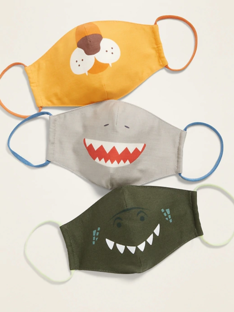 Variety 3-Pack of Triple-Layer Cloth Critter Face Masks (with Laundry Bag) for Kids in Lion/Gray Shark/Green Dinosaur