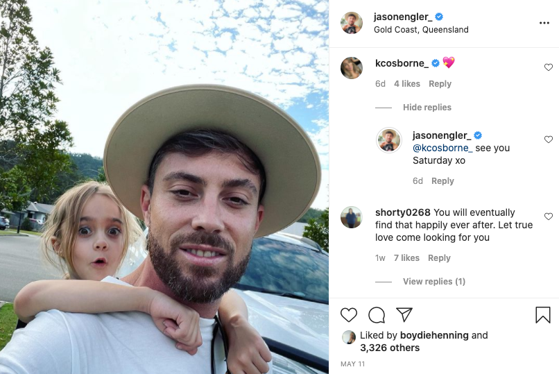 A screenshot of an Instagram post by Jason Engler showing him with his young niece on his back