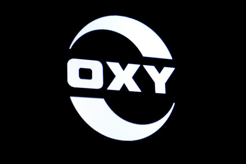 FILE PHOTO: The logo for Occidental Petroleum is displayed on a screen on the floor at the NYSE in New York