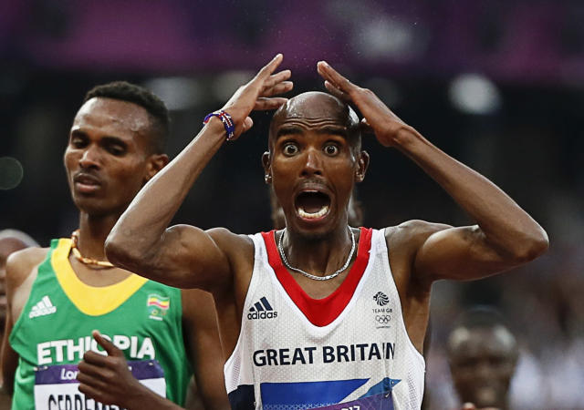 Britain's Mo Farah reacts as he wins the men's 5000m final at the London 2012 Olympic Games at the Olympic Stadium August 11, 2012. REUTERS/Lucy Nicholson (BRITAIN - Tags: SPORT ATHLETICS OLYMPICS)