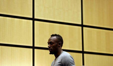Jamaican sprinter Usain Bolt arrives at a news conference before the Ostrava Golden Spike athletics meeting in Ostrava, Czech Republic, June 26, 2017.   REUTERS/David W Cerny