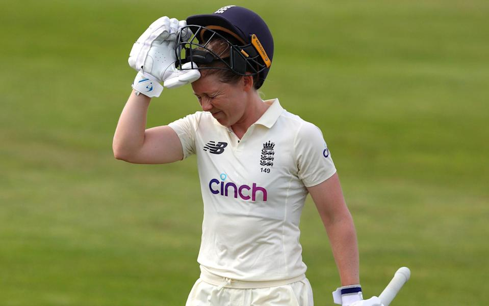 Heather Knight is of England is dismissed for 95 on Day One of the LV= Insurance Test Match between England Women and India Women at Bristol County Ground on June 16, 2021 in Bristol, England - Ashley Allen/Getty Images