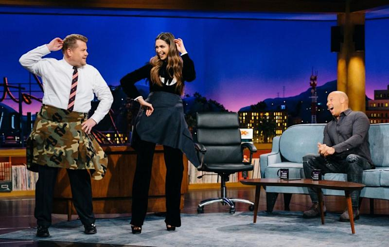 Deepika is bringing her unique talents to Hollywood - seen here during an interview with James Corden. Source: Getty