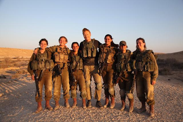 <p>Today I had my butt kicked by the women of the #IDF Karkl Battalion. That's me in the middle. #SquadGoals #ConanIsrael #Israel (Photo: Conan O'Brien via Twitter) </p>