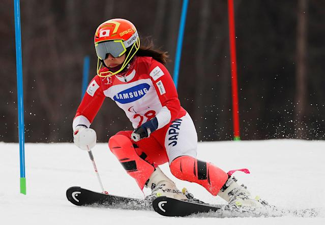 Alpine Skiing - Pyeongchang 2018 Winter Paralympics - Women's Slalom - Standing - Run 1 - Jeongseon Alpine Centre - Jeongseon, South Korea - March 18, 2018 - Ammi Hondo of Japan. REUTERS/Paul Hanna