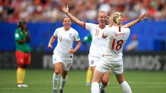 Ellen White of England celebrates with teammate Toni Duggan (Photo by Marc Atkins/Getty Images)