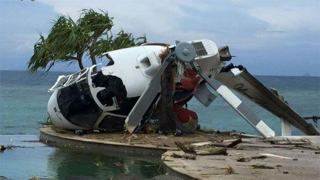 This is the terrifying moment a Eurocopter came crashing down on Treasure Island in Fiji. Photo: Bob Carroll