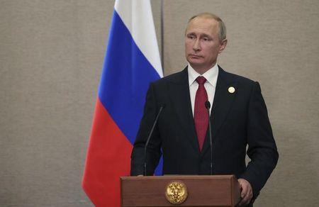 Russian President Putin attends a news conference after BRICS Summit in Xiamen