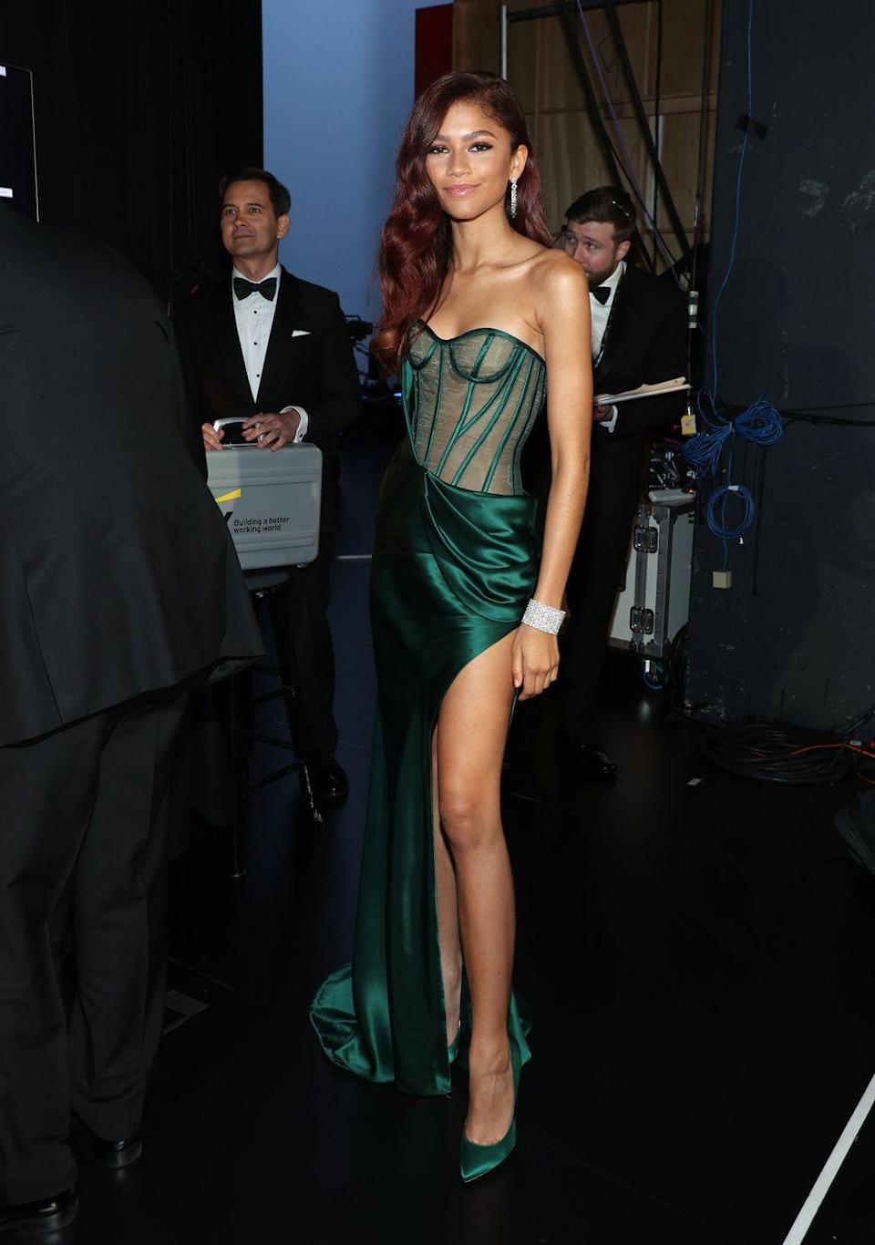 <p>The actress wore a Vera Wang gown, Brian Atwood pumps, and Cartier jewels for the 71st Primetime Emmy Awards. </p>