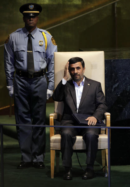 FILE-- In this Thursday, Sept. 22, 2011 file photo, Iran's President Mahmoud Ahmadinejad waves after his address to the 66th session of the United Nations General Assembly. As Iran's president crafts his talking points for his annual trip to New York, one message is likely to remain near the top: Tehran has not closed the door on nuclear dialogue and is ready to resume negotiations with world powers. (AP Photo/Richard Drew, File)