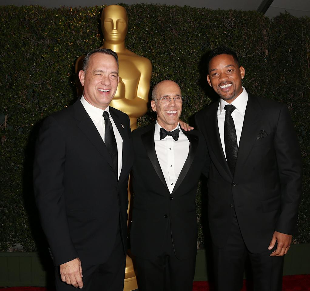 HOLLYWOOD, CA - DECEMBER 01: (L-R) Actor Tom Hanks, producer Jeffrey Katzenberg and actor Will Smith attend the Academy Of Motion Picture Arts And Sciences' 4th Annual Governors Awards at Hollywood and Highland on December 1, 2012 in Hollywood, California.  (Photo by Frederick M. Brown/Getty Images)