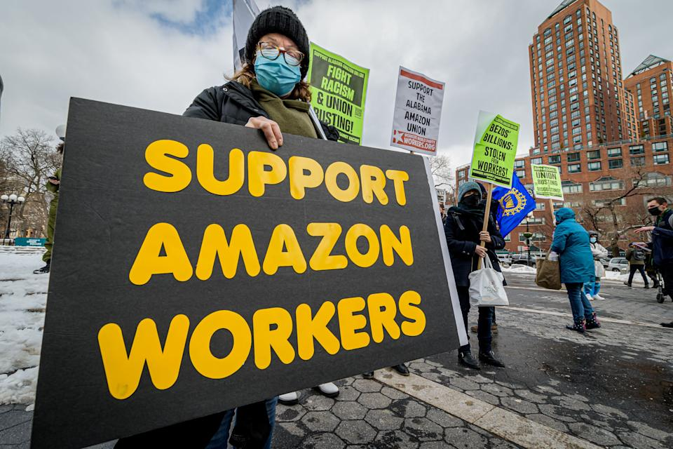 Members of the Workers Assembly Against Racism gathered across from an Amazon-owned Whole Foods Market in Manhattan for a nationwide solidarity event with the unionizing Amazon workers in Bessemer, Alabama. (Photo: Erik McGregor/LightRocket/Getty Images)