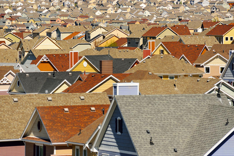 Rooftops in suburban development, Colorado Springs, Colorado, United States