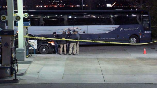 PHOTO: Police at the scene of a shooting on a Greyhound bus near Lebec, Calif., early on Feb. 3, 2020. (KABC)