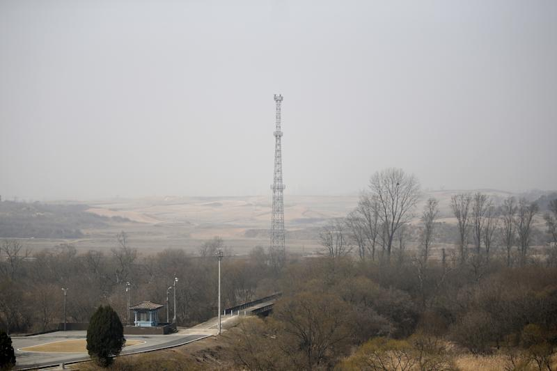 North Korea's surveillance cameras sit on the top of a steel tower to overlook the south, near the truce village of Panmunjom, South Korea, March 30, 2016. REUTERS/Kim Hong-Ji
