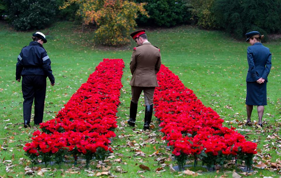 Members of the British armed forces look on at the launch of the Royal British Legion 2017 Poppy Appeal at The Royal Hospital Chelsea, (Picture: Reuters)